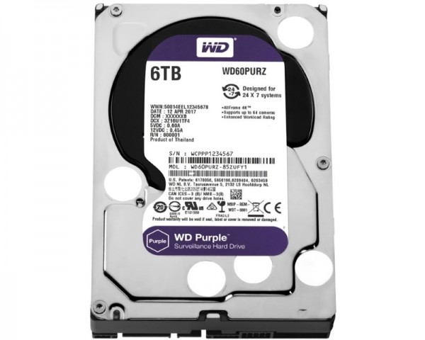 WD 6TB 3.5'' SATA III 64MB IntelliPower WD60PURZ Purple
