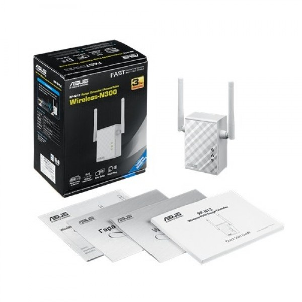 Asus RP-N12 Wireless N300 Range ExtenderAccess PointMedia Bridge ruter' ( 'RP-N12' )