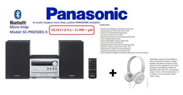 PANASONIC micro linija SC-PM250EC-S+POKLON slušalice