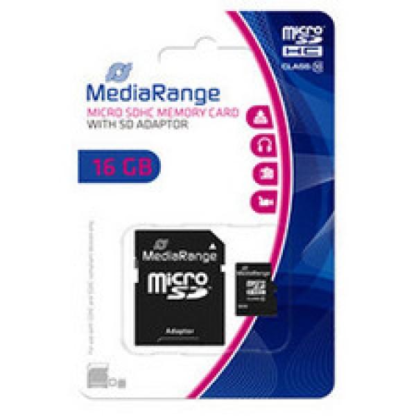 MEM. KARTICA microSDHC 16GB MEDIARANGE + SD adapter C10