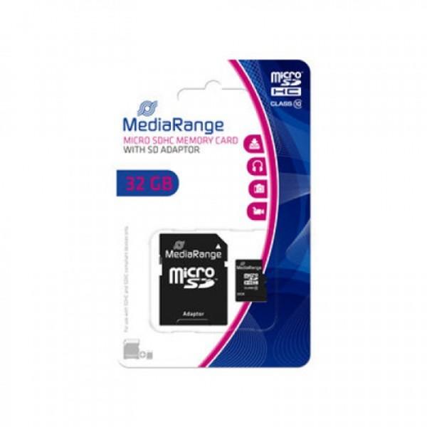 MEM. KARTICA microSDHC 32GB MEDIARANGE + SD adapter C10