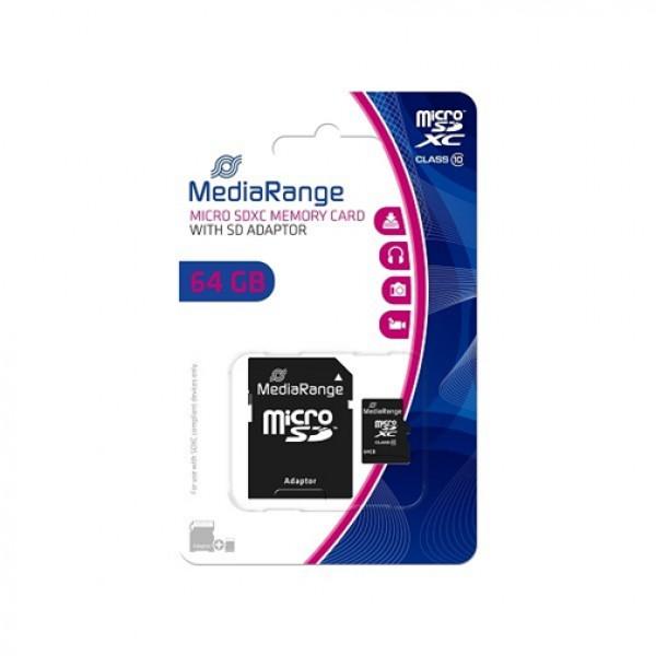 MEM. KARTICA microSDXC 64GB MEDIARANGE + SD adapter C10 MR955