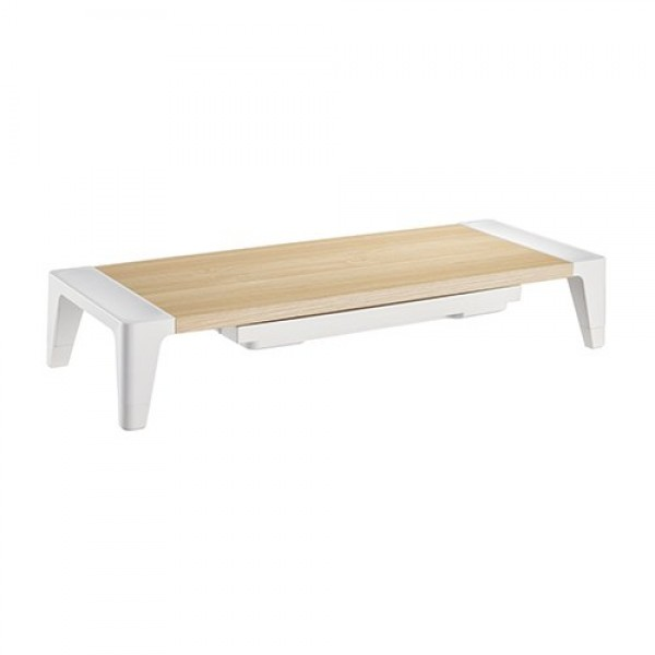 Lumi White Birch Monitor Riser With Increased Height and Drawer  ( STB-143 )