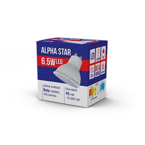 ALPHA STAR ECO LED SIJALICA GU10-6.5W 220V BELA 4000K 100 (NT)