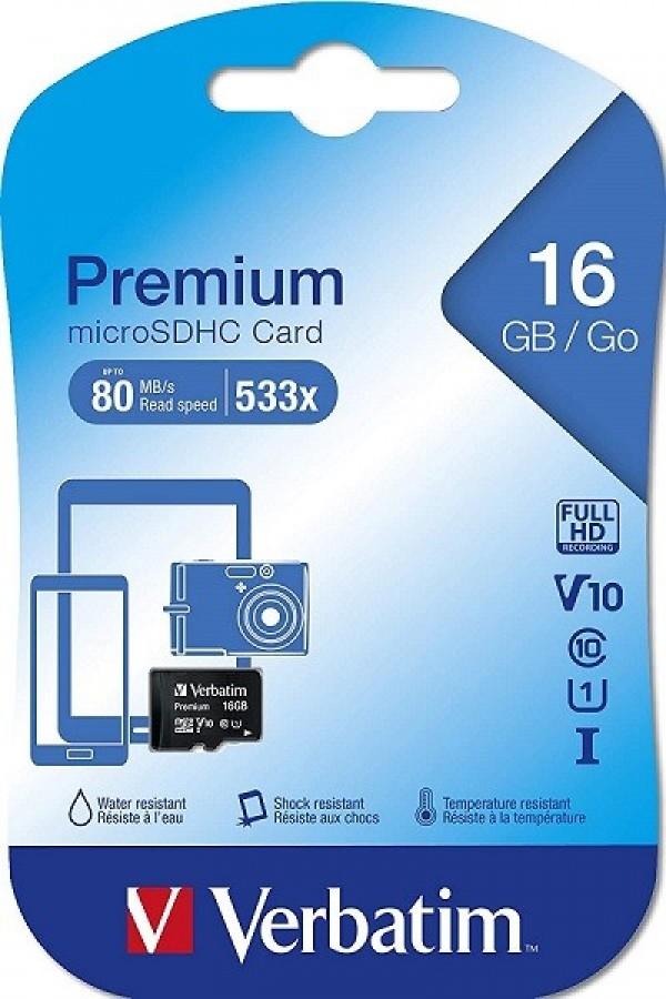 VERBATIM MEMORIJSKE KARTICE 16GB MICRO SDHC 44010 CLASS 10 (VTP)