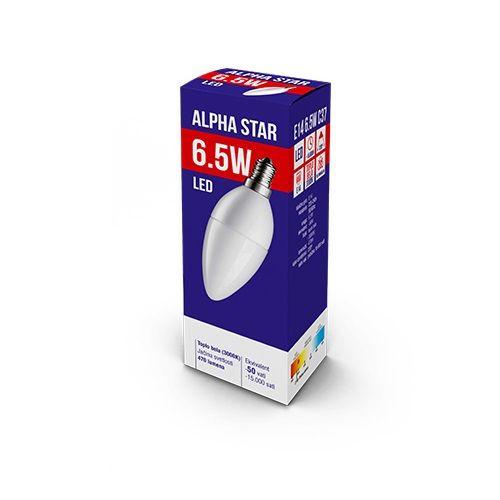 ALPHA STAR LED SIJALICA E14 6.5W TOPLO BELA 3000K CANDLE (NT)
