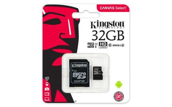 KINGSTON MICRO SD 32GB + SD adapter SDCS/32GB