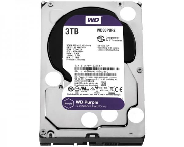 WD 3TB 3.5'' SATA III 64MB IntelliPower WD30PURZ Purple